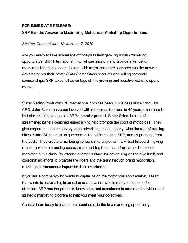 FOR IMMEDIATE RELEASE: SRP Has the Answer to Maximizing Motocross Marketing Opportunities Shelton, Connecticut -- November...