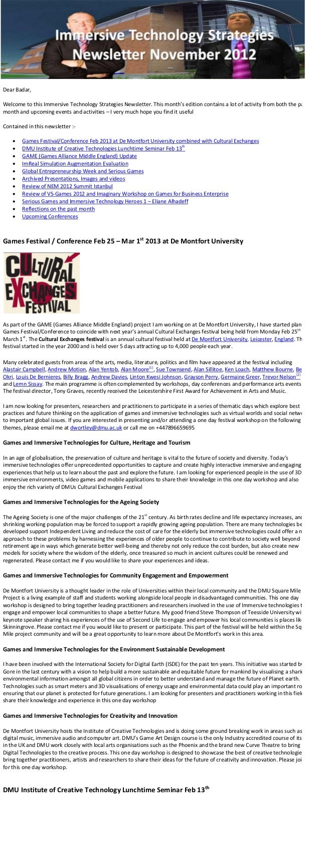 Immersive Technology Strategies Nov 2012 e-Newsletter