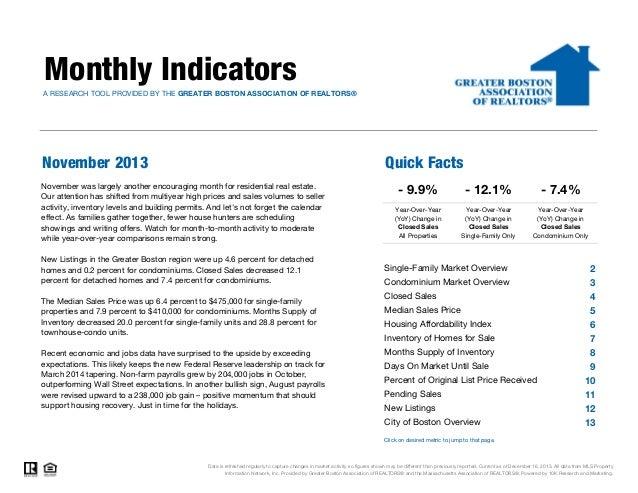 November 2013 Greater Boston Real Estate Market Trends Report