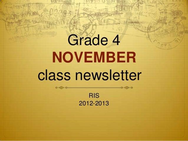 Grade 4  NOVEMBERclass newsletter         RIS      2012-2013