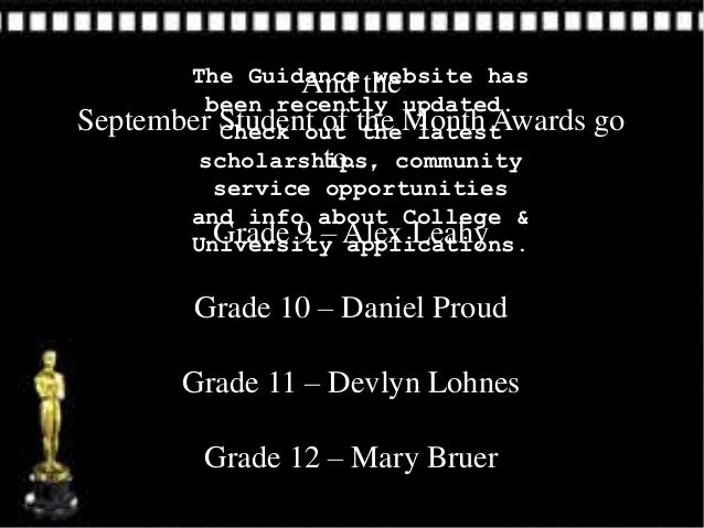 The Guidance the                And website has        been recently updated.September Student of the Month Awards        ...