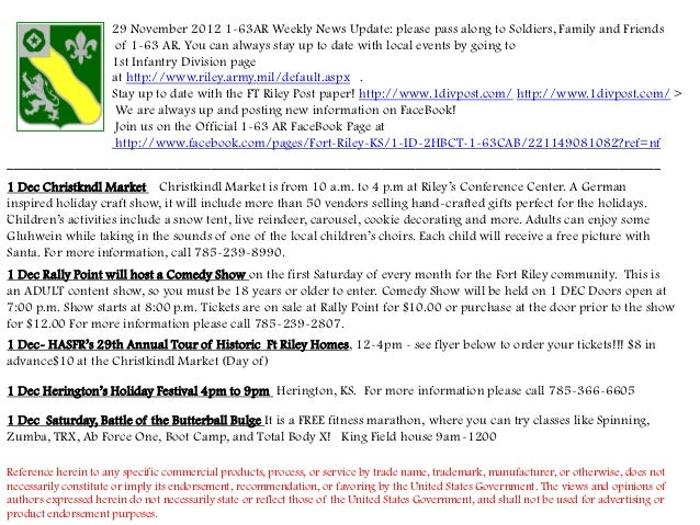 29 November 2012 1-63AR Weekly News Update: please pass along to Soldiers, Family and Friends                       of 1-6...