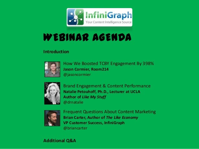 WEBINAR AGENDAIntroduction         How We Boosted TCBY Engagement By 398%         Jason Cormier, Room214         @jasoncor...
