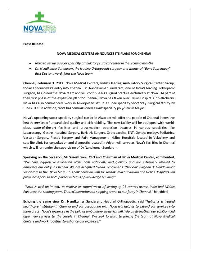 Press Release NOVA MEDICAL CENTERS ANNOUNCES ITS PLANS FOR CHENNAI    Nova to set up a super specialty ambulatory surgic...