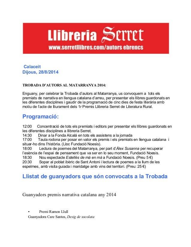 Nova programació calaceit 28 d'agost trobada premis literaris al matarranya