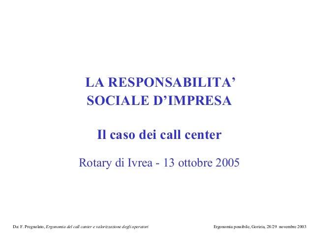 LA RESPONSABILITA'                                        SOCIALE D'IMPRESA                                               ...