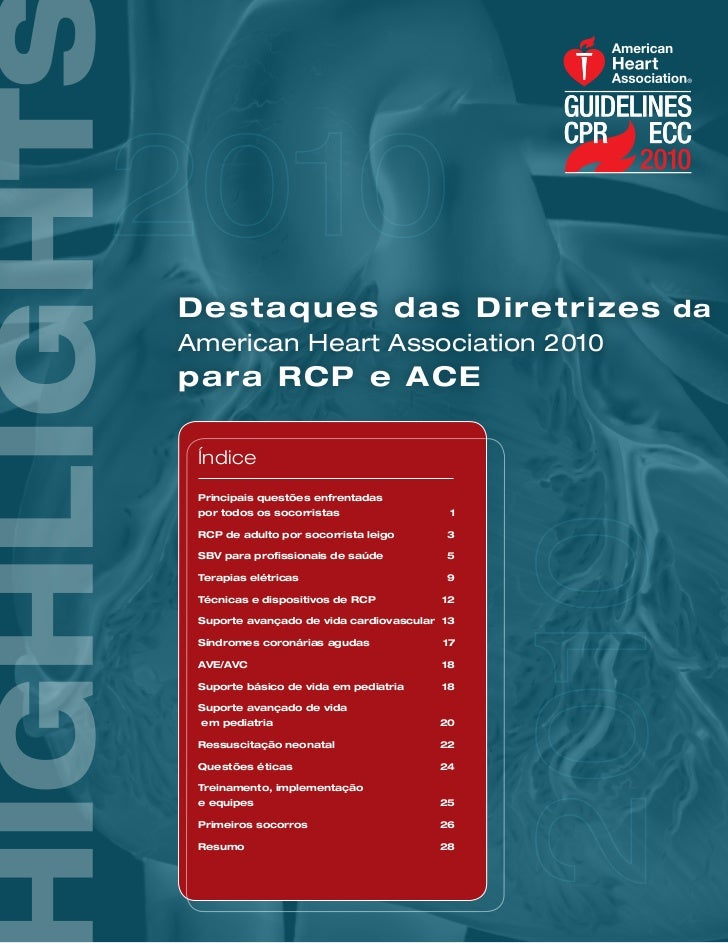 D e st aq u es d a s D i r et r i ze s daAmerican Heart Association 2010para R C P e A C E Índice Principais questões enfr...