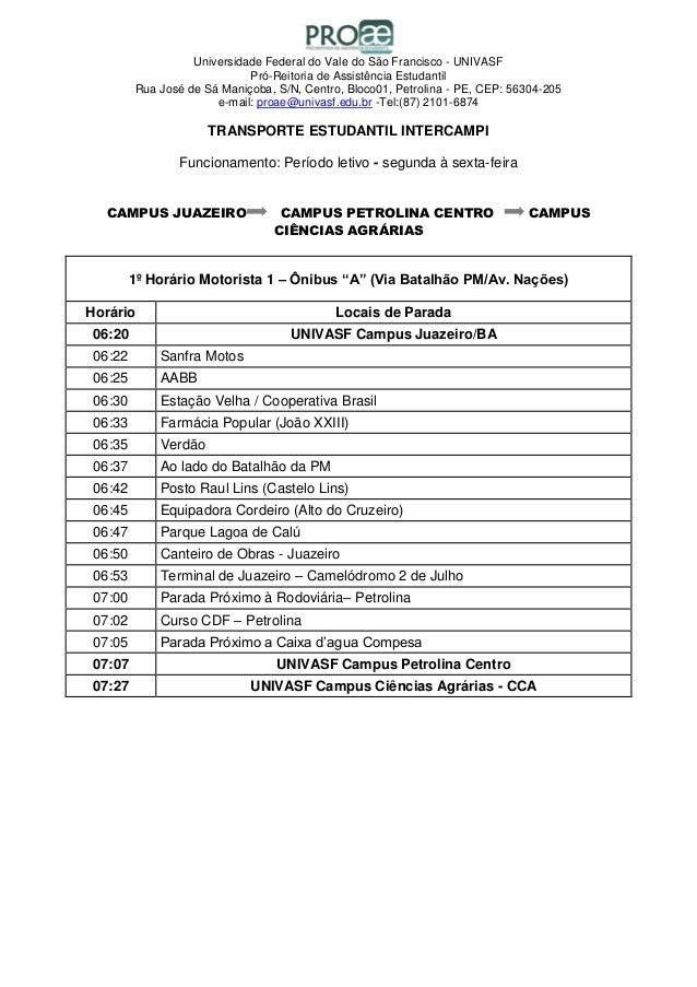 Universidade Federal do Vale do São Francisco - UNIVASF Pró-Reitoria de Assistência Estudantil Rua José de Sá Maniçoba, S/...