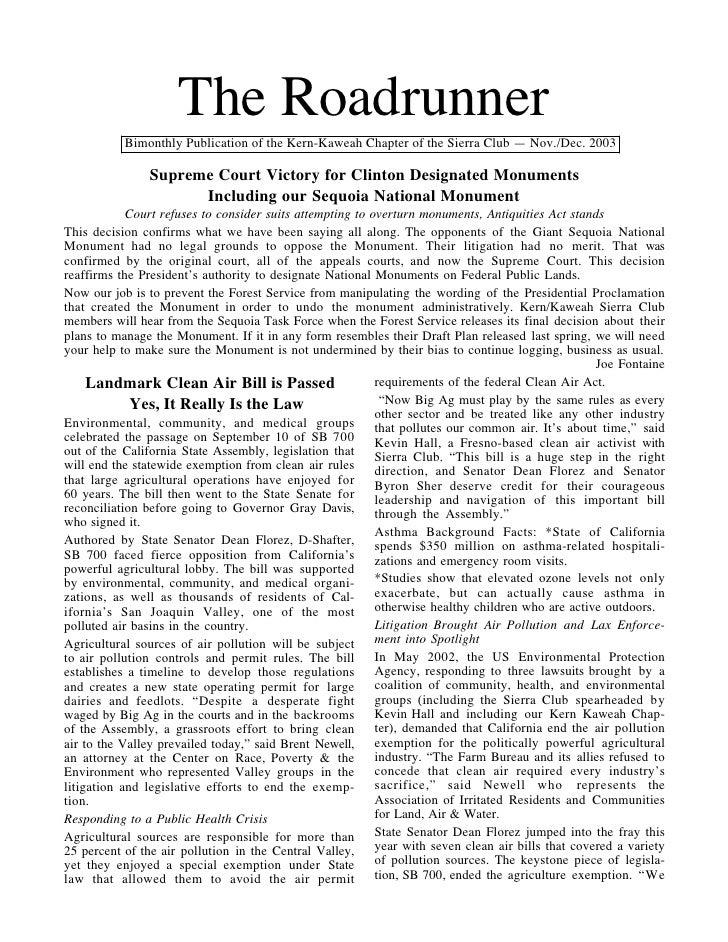 November-December 2003 Roadrunner Newsletter, Kern-Kaweah Sierrra Club