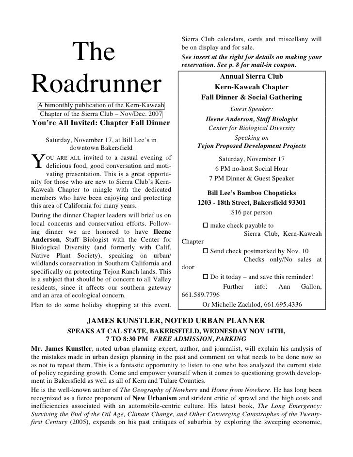 November-December 2007 Roadrunner Newsletter, Kern-Kaweah Sierrra Club