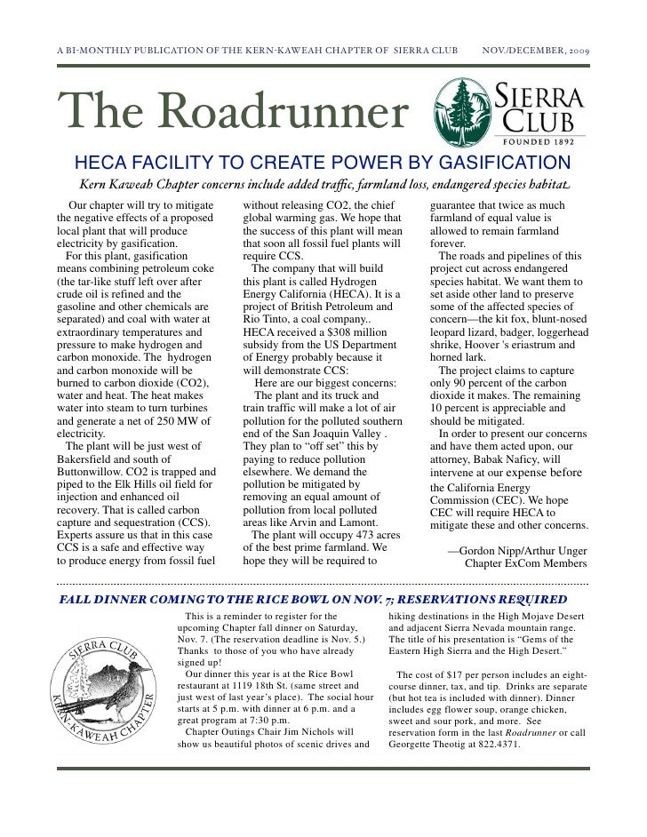 November-December 2009 Roadrunner Newsletter, Kern-Kaweah Sierrra Club