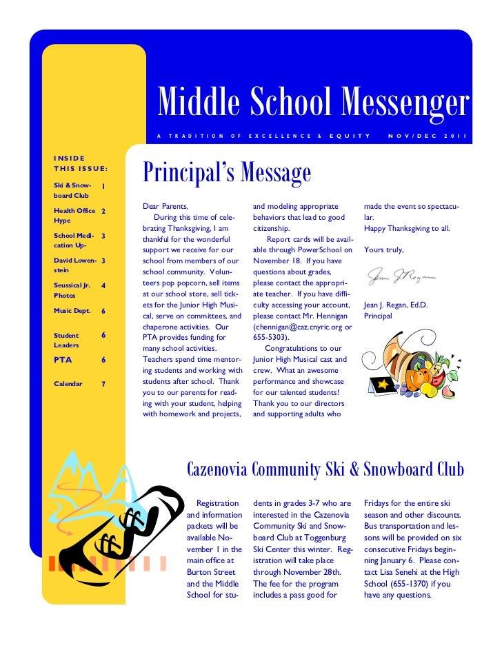 Middle School Messenger                        A   T R A D I T I O N   O F   E X C E L L E N C E   &   E Q U I T Y      N ...