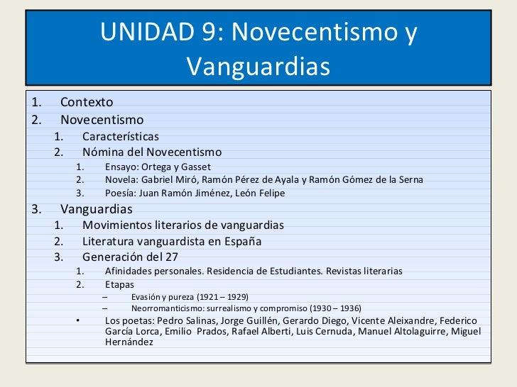 UNIDAD 9: Novecentismo y Vanguardias <ul><li>Contexto </li></ul><ul><li>Novecentismo </li></ul><ul><ul><li>Características...