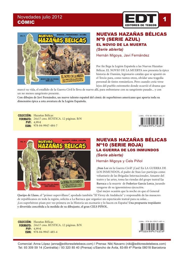 Novedades julio 2012CÓMIC                                                                                                 ...