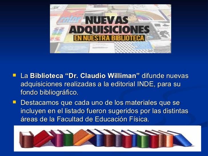 """<ul><li>La  Biblioteca """"Dr. Claudio Williman""""  difunde nuevas adquisiciones realizadas a la editorial INDE, para su fondo ..."""