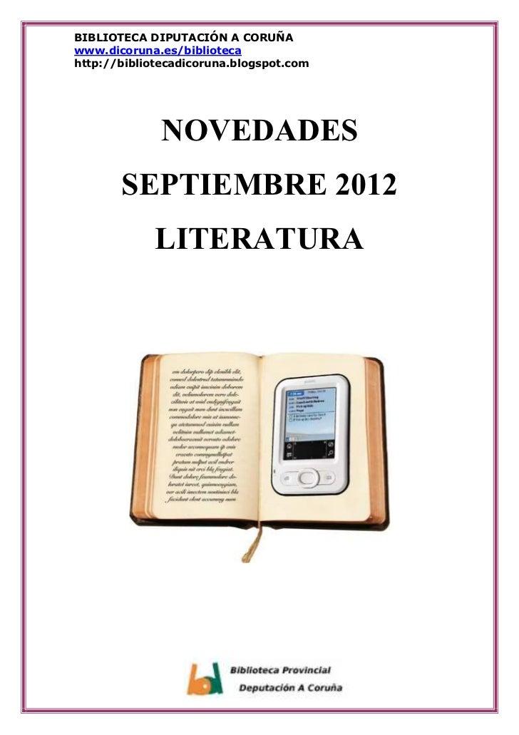BIBLIOTECA DIPUTACIÓN A CORUÑAwww.dicoruna.es/bibliotecahttp://bibliotecadicoruna.blogspot.com              NOVEDADES     ...