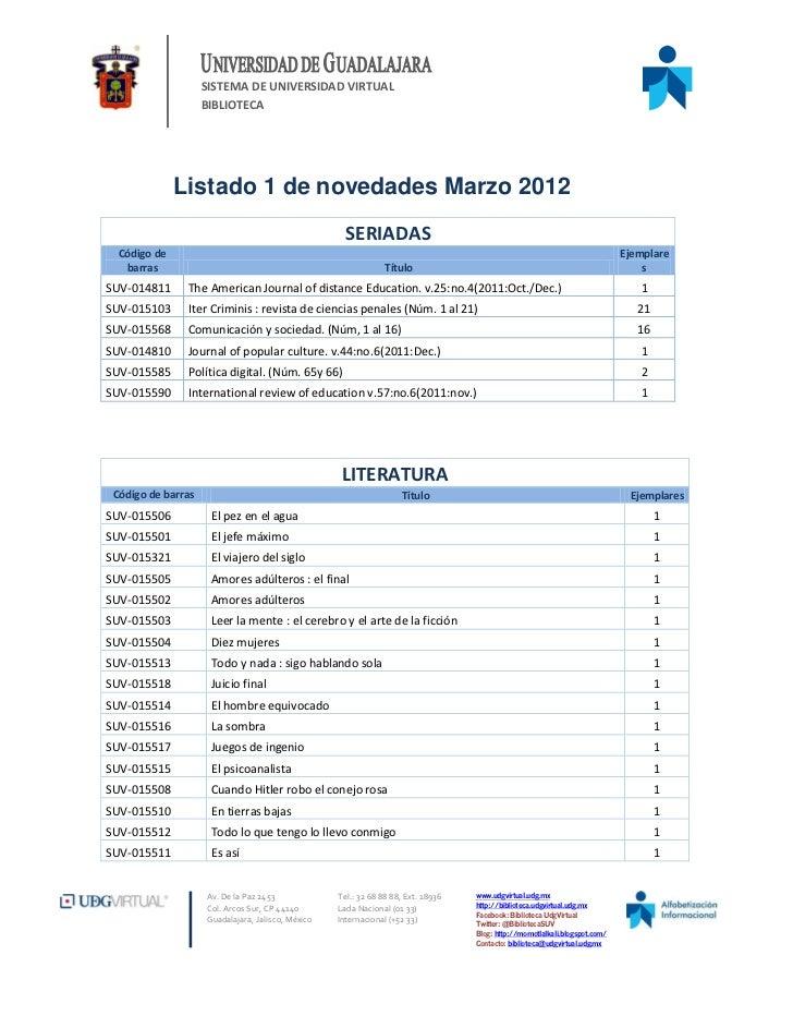 SISTEMA DE UNIVERSIDAD VIRTUAL                    BIBLIOTECA              Listado 1 de novedades Marzo 2012               ...