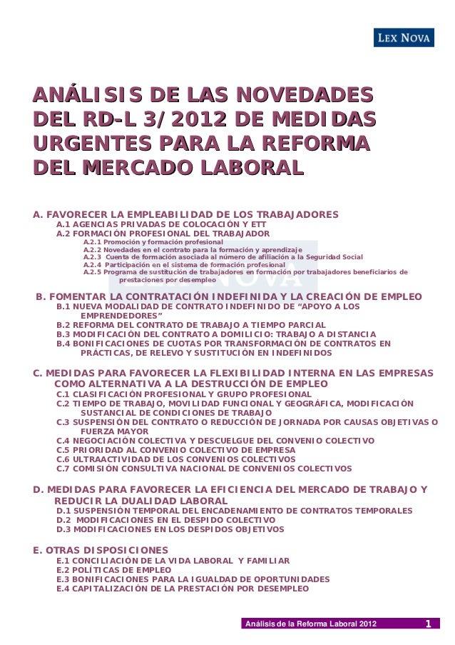 ANÁLISIS DE LAS NOVEDADESDEL RD-L 3/2012 DE MEDIDASURGENTES PARA LA REFORMADEL MERCADO LABORALA. FAVORECER LA EMPLEABILIDA...