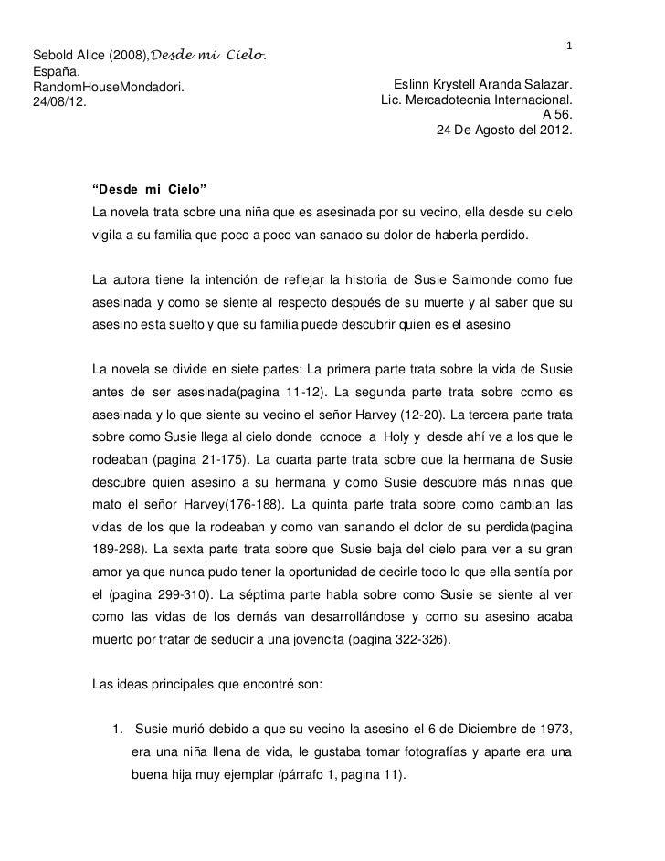 1Sebold Alice (2008),Desde mi Cielo.España.RandomHouseMondadori.                                      Eslinn Krystell Aran...