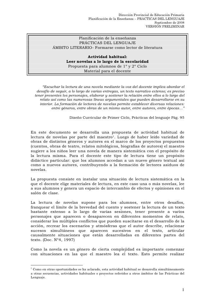 Dirección Provincial de Educación Primaria                                     Planificación de la Enseñanza – PRACTICAS D...