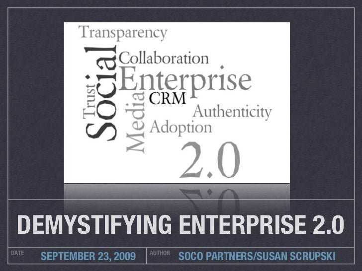 DEMYSTIFYING ENTERPRISE 2.0 DATE                        AUTHOR        SEPTEMBER 23, 2009            SOCO PARTNERS/SUSAN SC...