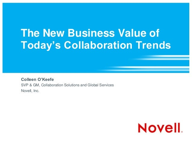 The New Business Value of Today's Collaboration Trends Colleen O'Keefe SVP & GM, Collaboration Solutions and Global Servic...