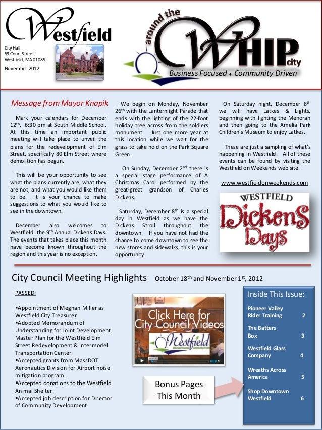WfCity Hall59 Court StreetWestfield, MA 01085                      est ieldNovember 2012                                  ...