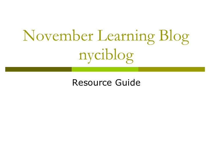November Learning Blog nyciblog Resource Guide