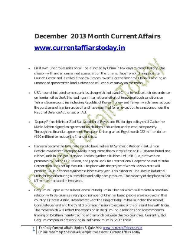 December 2013 Month Current Affairs www.currentaffiarstoday.in   First ever lunar rover mission will be launched by China...