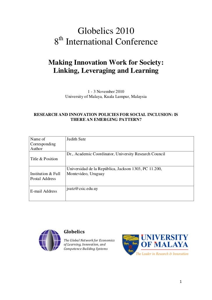 Globelics 2010              8th International Conference          Making Innovation Work for Society:           Linking, L...