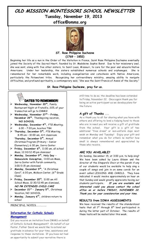 OMMS Newsletter for 11-19-2013