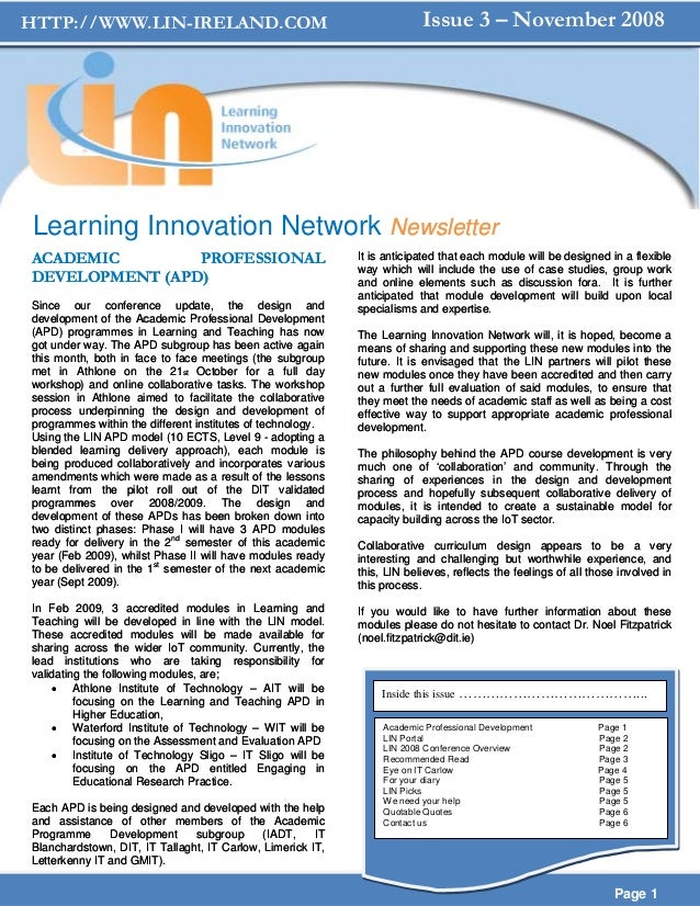 HTTP://WWW.LIN-IRELAND.COM                                               Issue 3 – November 2008Learning Innovation Networ...