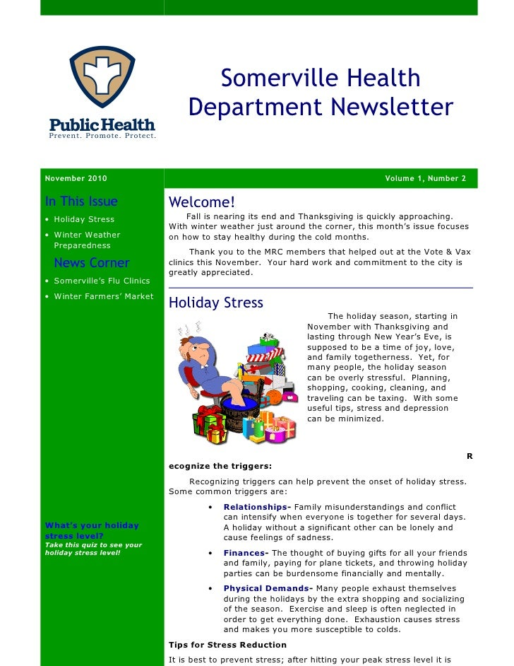 Somerville Health                                 Department NewsletterNovember 2010                                      ...