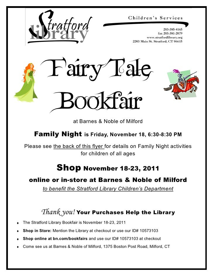 Fairy Tale               Bookfair                          at Barnes & Noble of Milford     Family Night               is ...