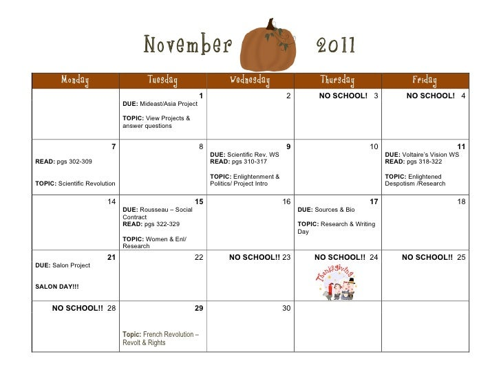November                                                       2011         Monday                        Tuesday         ...