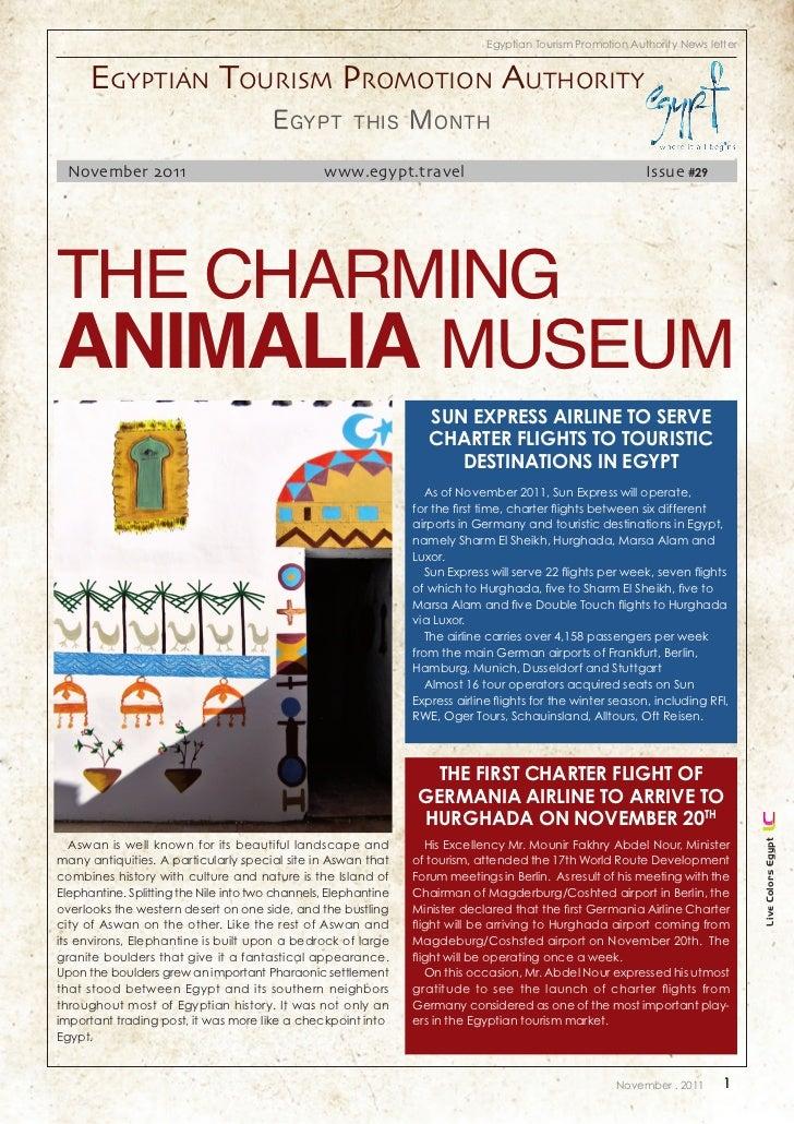 Egypt Tourism Newsletter of November 2011