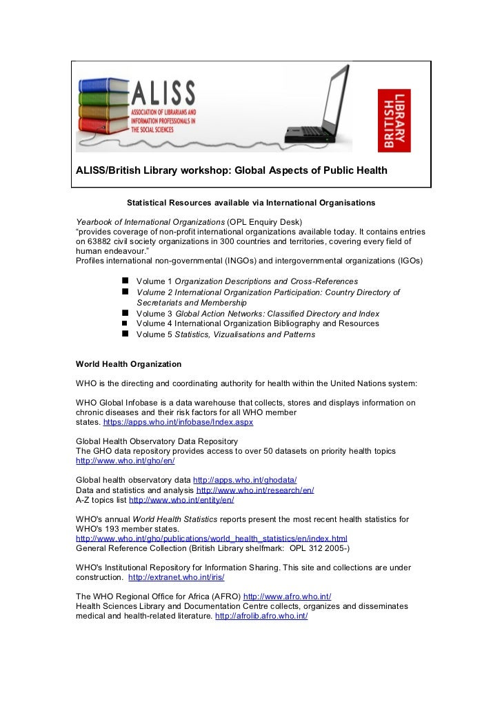Global health statistical resources available via international organisations