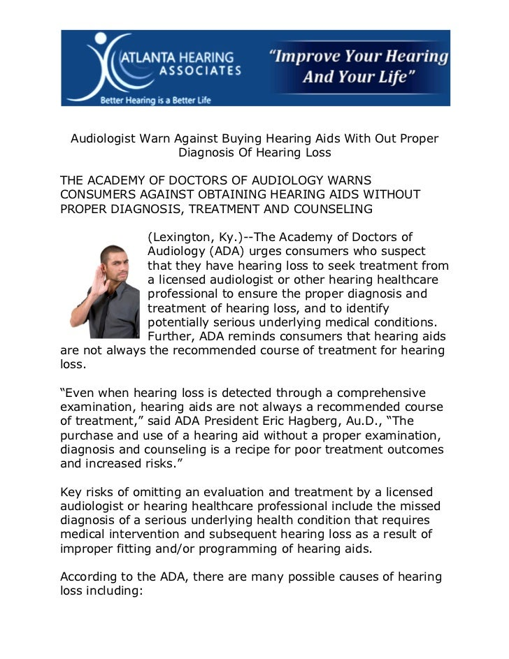 Audiologist Warn Against Buying Hearing Aids With Out Proper                  Diagnosis Of Hearing LossTHE ACADEMY OF DOCT...