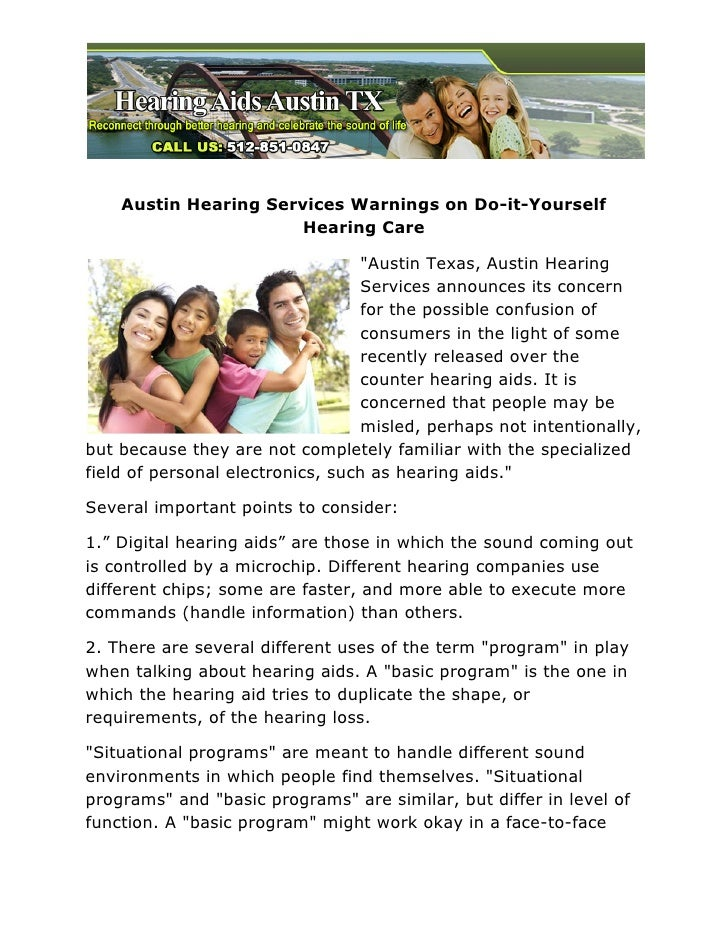 "Austin Hearing Services Warnings on Do-it-Yourself                       Hearing Care                                  ""Au..."