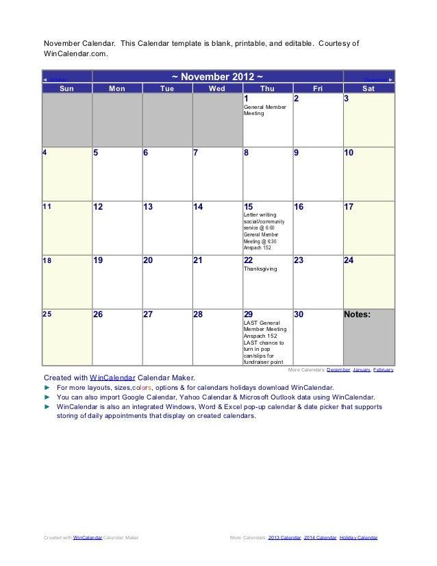 November Calendar. This Calendar template is blank, printable, and editable. Courtesy ofWinCalendar.com.◄ October         ...