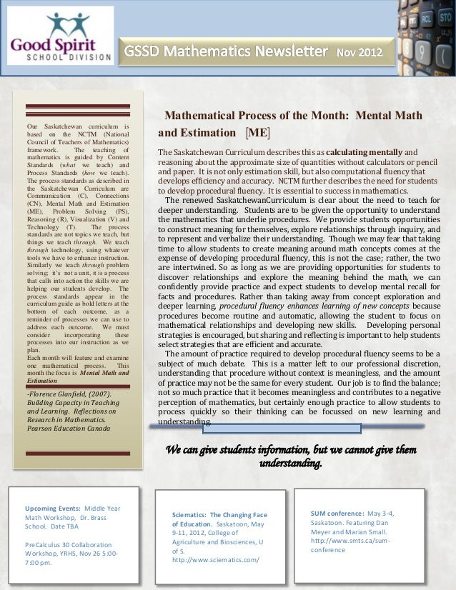 Mathematical Process of the Month: Mental MathOur Saskatchewan curriculum isbased on the NCTM (National                 an...