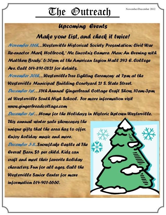 The Outreach                         November/December 2012                          Upcoming Events              Make you...
