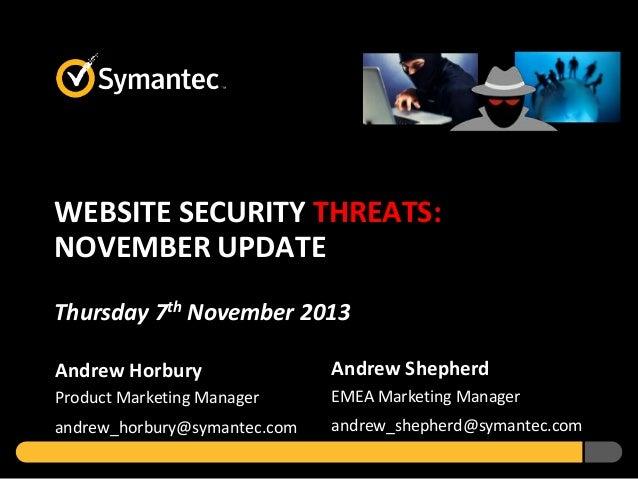 Website Security Threats - November 2013 Update
