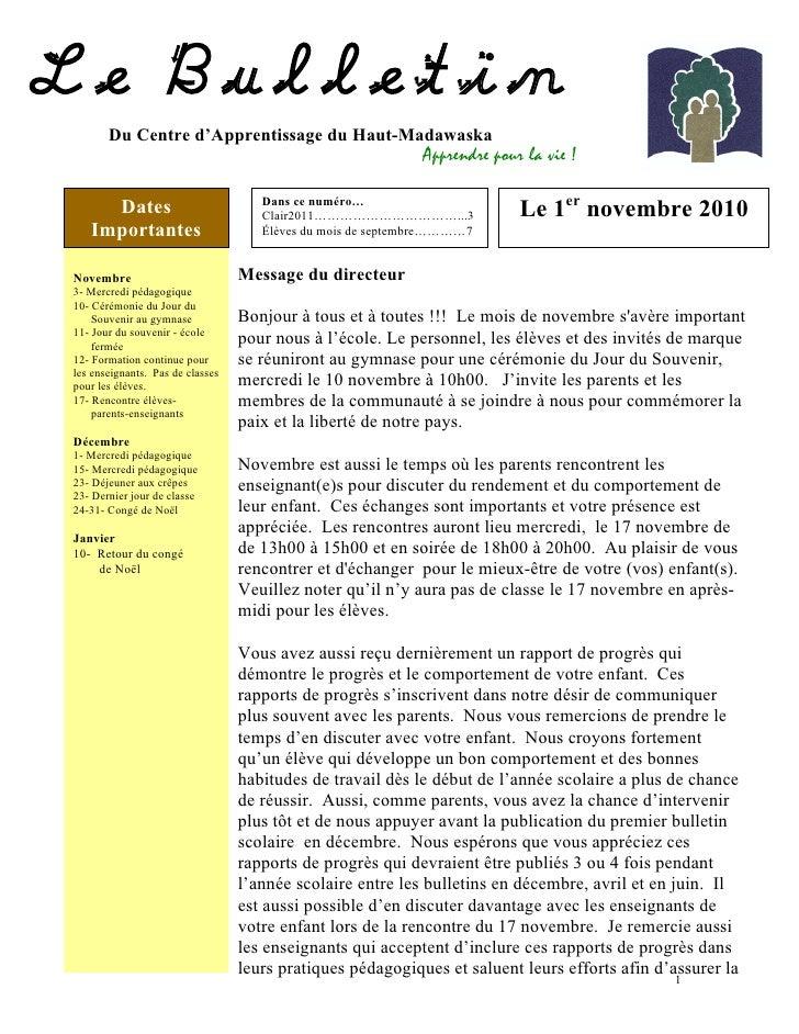 Le Bulletin du Centre d'apprentissage du Haut-Madawaska, novembre 2010