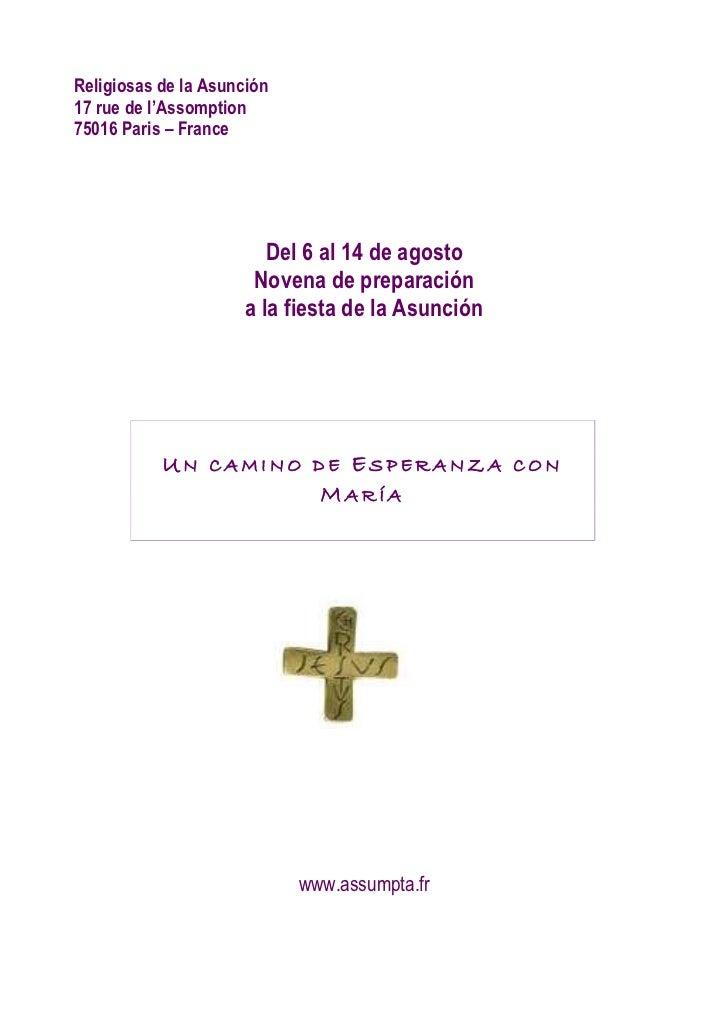 Religiosas de la Asunción17 rue de l'Assomption75016 Paris – France                        Del 6 al 14 de agosto          ...