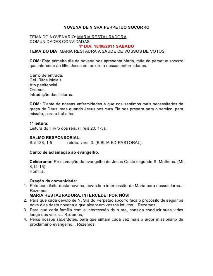 NOVENA DE N SRA PERPETUO SOCORRO     TEMA DO NOVENARIO: MARIA RESTAURADORA.     COMUNIDADES CONVIDADAS                    ...