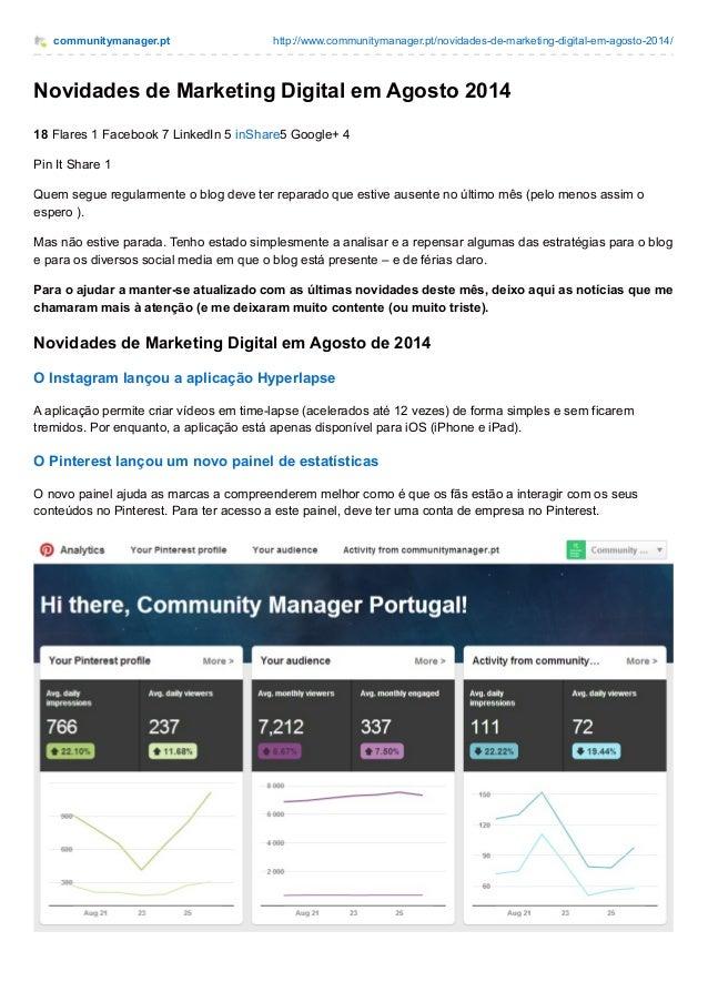 communitymanager.pt http://www.communitymanager.pt/novidades-de-marketing-digital-em-agosto-2014/  Novidades de Marketing ...