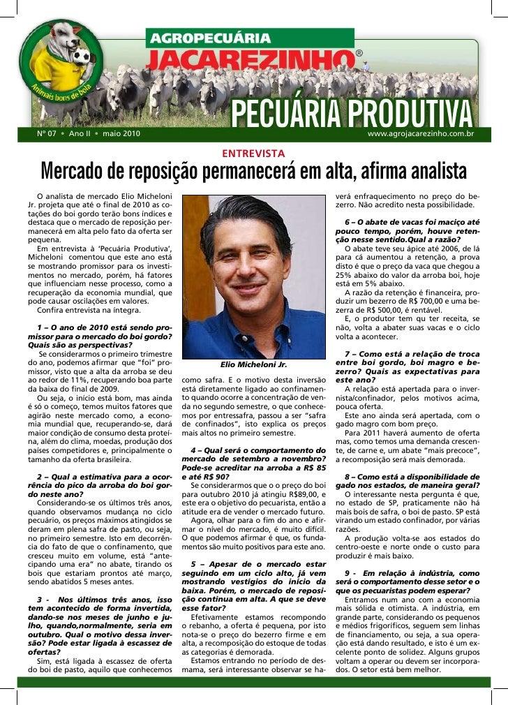 Newsletter Pecuária Produtiva Jacarezinho: confira a entrevista com Elio Micheloni Jr. sobre o mercado de reposição
