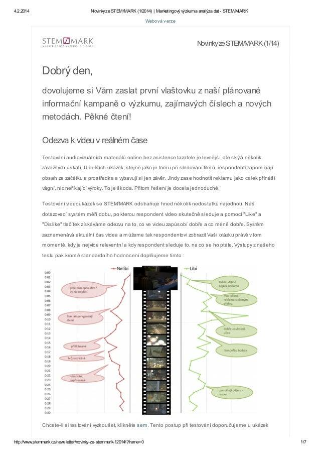 4.2.2014  Novinky ze STEM/MARK (1/2014) | Marketingový výzkum a analýza dat - STEM/MARK  Webová verze  Novinky ze STEM/MAR...