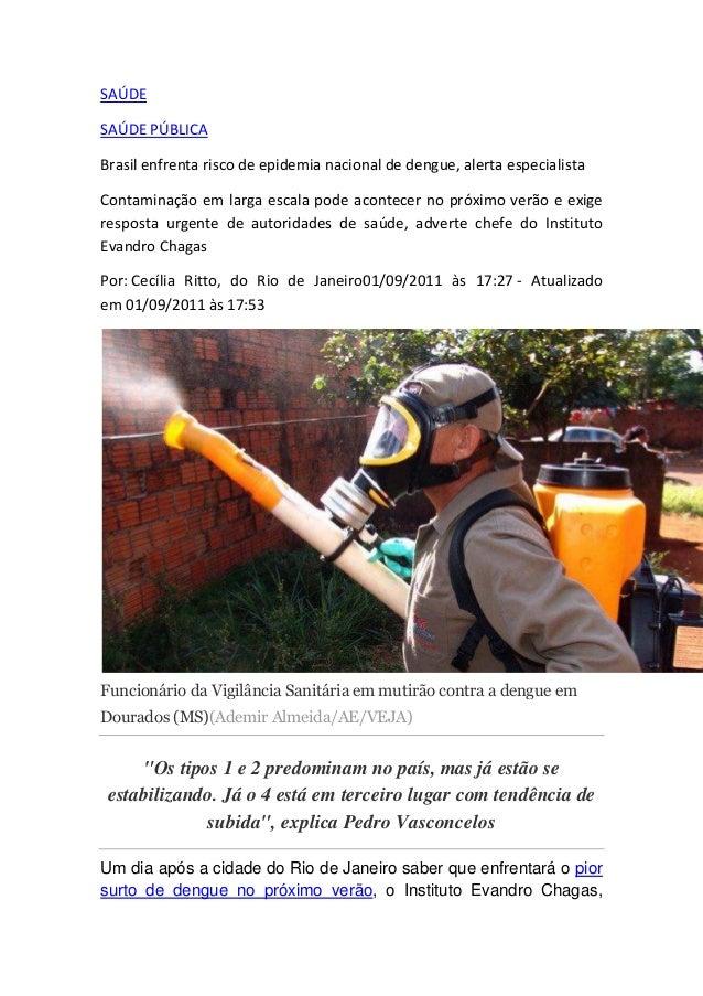 SAÚDE SAÚDE PÚBLICA Brasil enfrenta risco de epidemia nacional de dengue, alerta especialista Contaminação em larga escala...